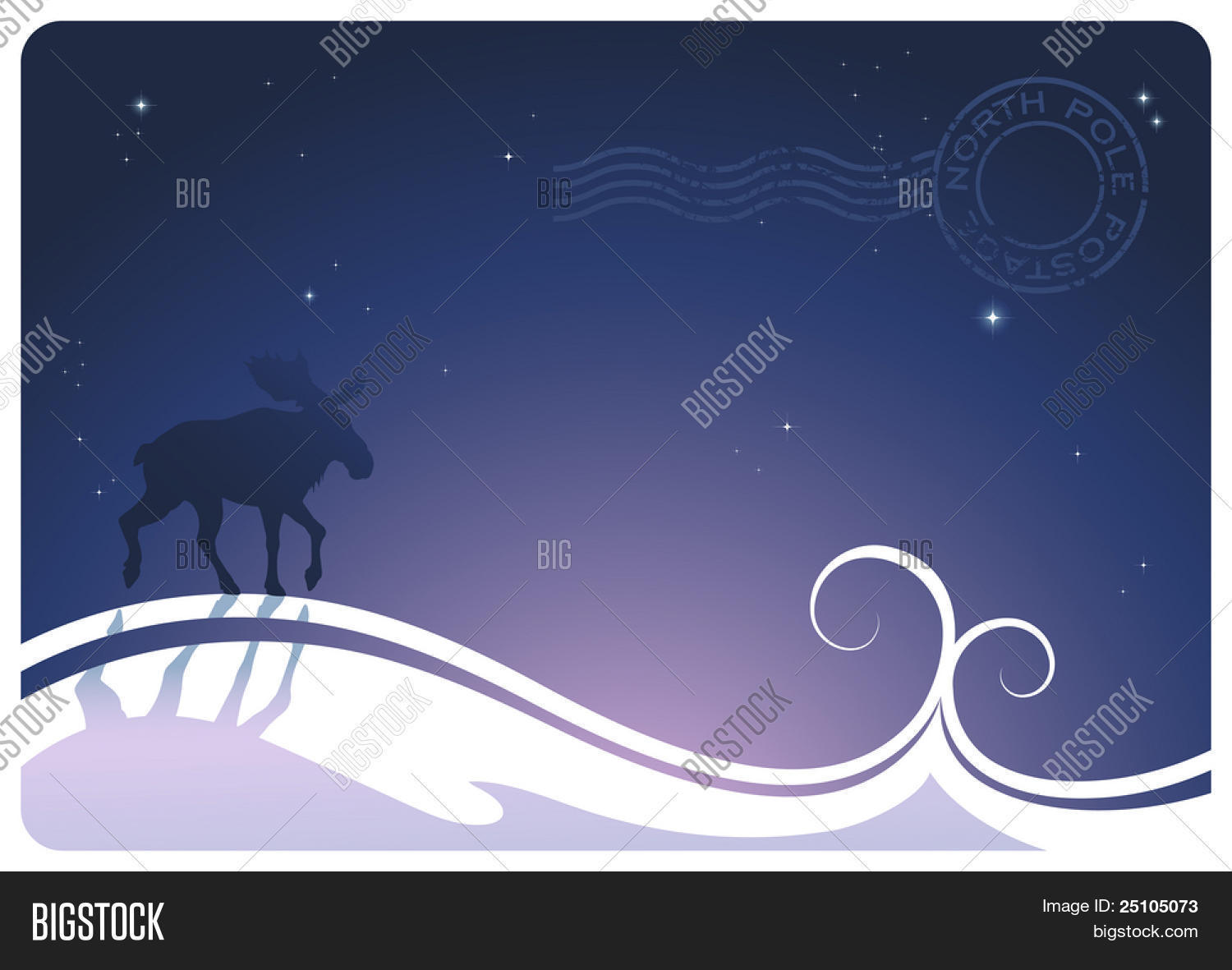 Stylized Winter Landscape With Moose And Northpole Postage Stamp