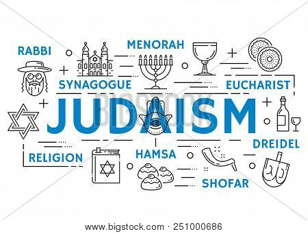 Judaism Religion Banner With Jewish Culture And Philosophy Thin Line Symbols. Torah, Menorah And Syn