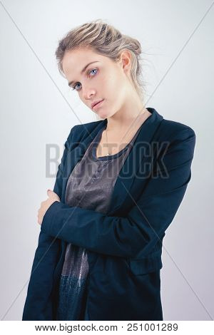 Young Pretty Lady Fashion Portrait Looking At Camera
