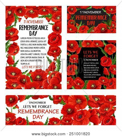 Remembrance Day Red Poppy Flower Poster With Floral Frame. Memorial Banner With British Legion Poppy