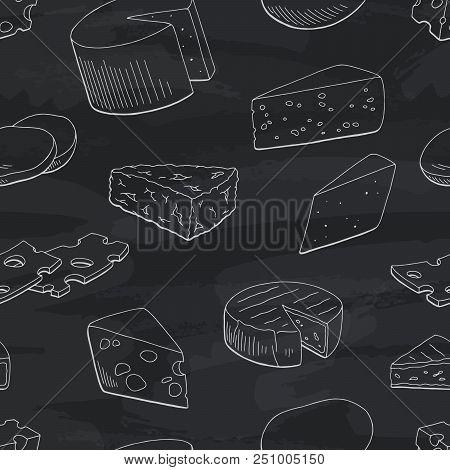 Cheese Graphic Blackboard Black White Seamless Pattern Sketch Background Illustration Vector