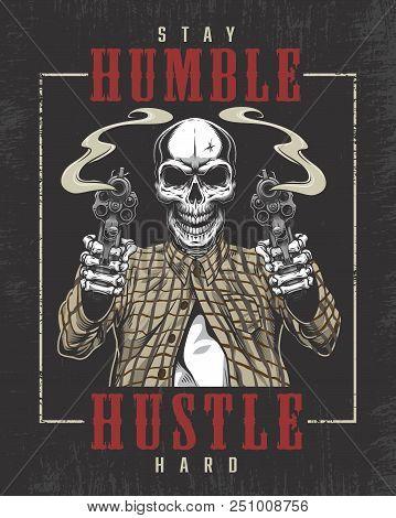 Skeleton Gangster With Guns In T-shirt. Vector Illustration