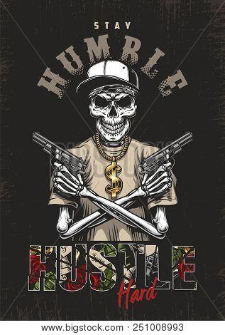 Skeleton Gangster With Guns In T-shirt. Vector Poster Illustration