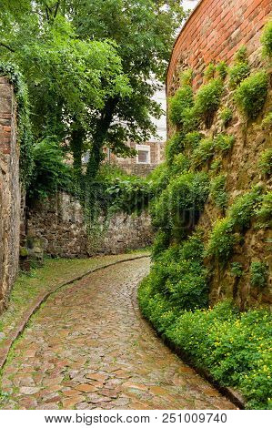 Historical Cobble Stone Laid Narrow Street In Meissen, Germany