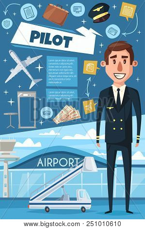 Pilot In Uniform Banner For Transportation Profession Themes. Aircraft Pilot Or Aviator At Airport P
