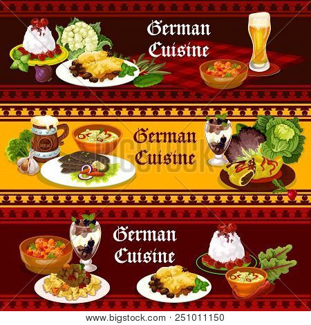 German Cuisine Traditional Food And Drink Banners. Beer With Potato Meat Casserole, Stuffed Pepper A