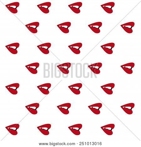 Red Lips Sideways Pattern Seamless. Vector Illustration. Isolated White Background.