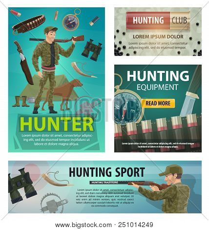 Hunting Sport Posters Of Hunter With Rifle And Equipment. Hunting Club Web Banners Design With Hunts