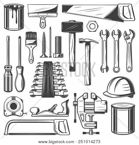 Construction And House Repair Tool Retro Icons. Screwdriver, Hammer And Spanner, Wrench, Paint And B
