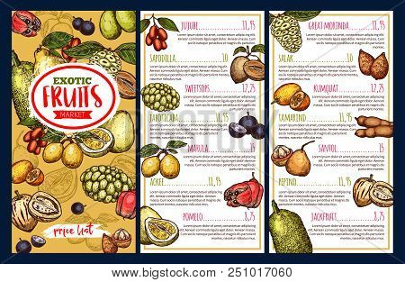 Fruit Market Price List Template With Exotic Tropical Berries. Pomelo, Jackfruit And Marula, Tamarin