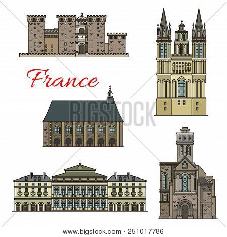 French Travel Landmark Icons Set Of Historical And Religious Tourist Sight. Church Of St Trinite, Ab