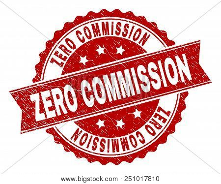 Zero Commission Seal Stamp With Corroded Texture. Rubber Seal Imitation Has Circle Medallion Form An