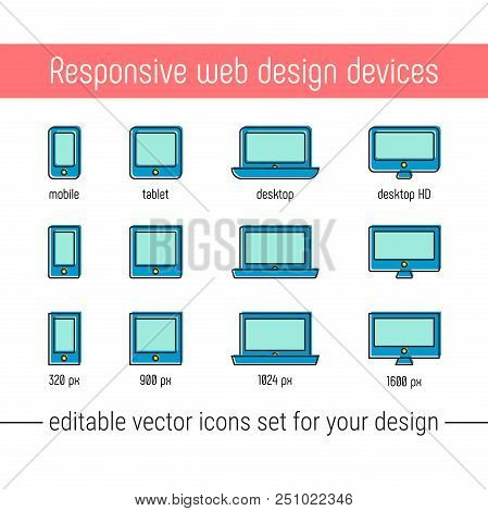 Responsive Design Icons Set Vector. Flat Responsive Design Icons In Memphis Style. Vector Responsive