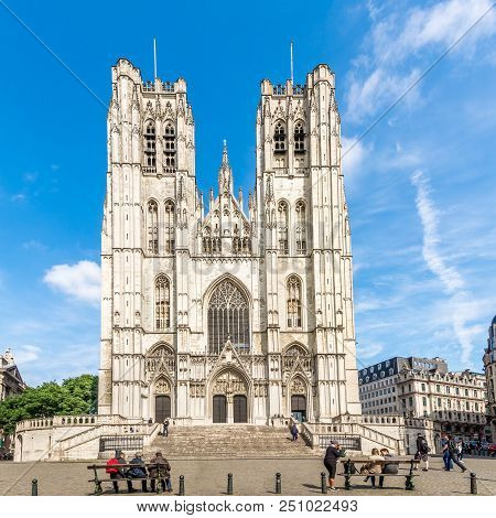 Brussels,belgium - May 18,2018 - View At The Cathedral Of St. Michael And St. Gudula In Brussels. Br