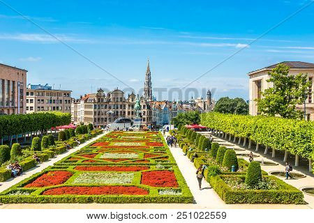 Brussels,belgium - May 18,2018 - Park Monts Des Arts In The Streets Of Brussels. Brussels Is The Cap