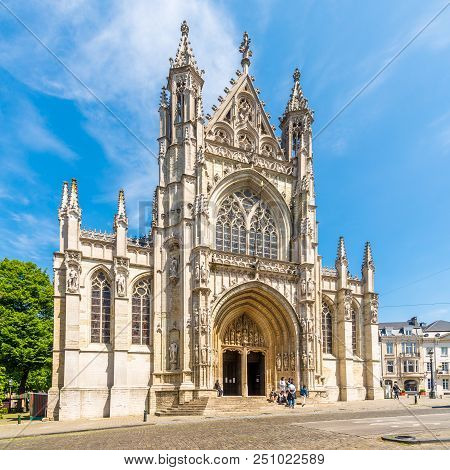 Brussels,belgium - May 18,2018 - View At The Church Of Notre Dame Du Sablon In Brussels. Brussels Is