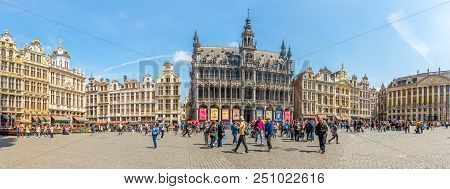 Brussels,belgium - May 18,2018 - Panoramic View At The Grote Markt In Brussels. Brussels Is The Capi