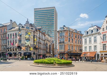 Brussels,belgium - May 18,2018 - In The Streets Of Brussels. Brussels Is The Capital Of Belgium.