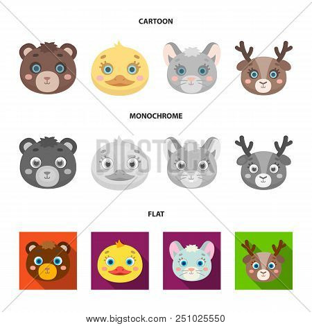 Bear, Duck, Mouse, Deer. Animal Muzzle Set Collection Icons In Cartoon, Flat, Monochrome Style Vecto