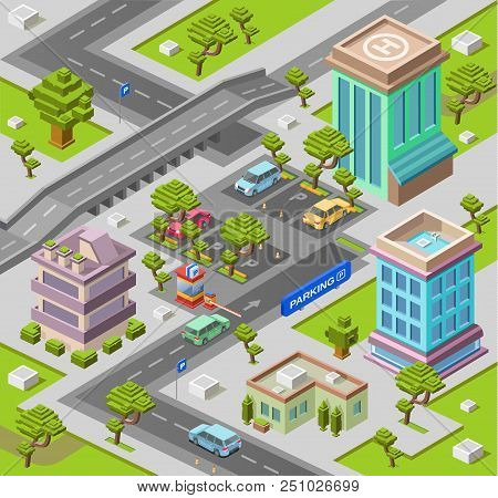 City Map For Parking Lot Isometric 3d Illustration Or Map With Office And Residential Building And C