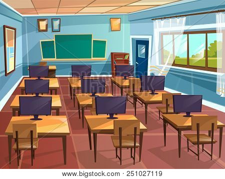 Cartoon Empty High School College University Computer Science Classroom Background. Illustration Roo