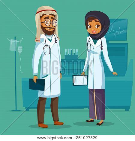 Cartoon Muslim Arab Khaliji Male Female Doctor Nurse. Surgeon Man Physician Specialist Woman Uniform