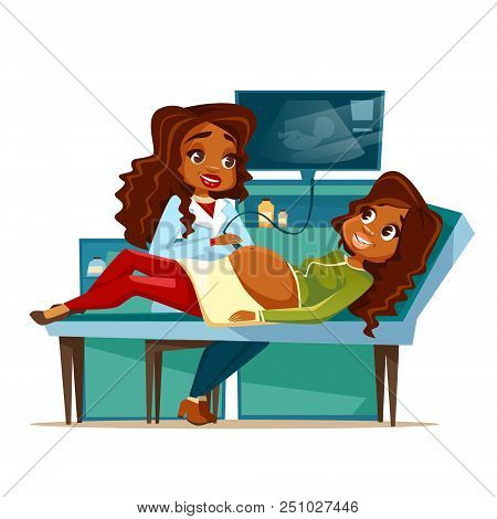 Pregnant Woman On Obstetric Ultrasound Cartoon Illustration Of Pregnancy Medical Examination. Flat D