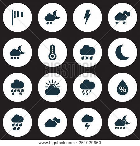 Weather Icons Set With Humidity, Storm, Heavy Rain And Other Deluge Elements. Isolated Vector Illust