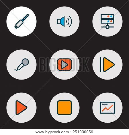 Media Icons Colored Line Set With Media Server, Upward, Presentation And Other Pause Elements. Isola