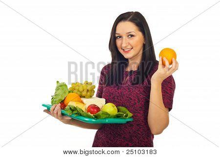 Happy Female Making A Food Choice