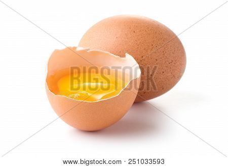 Solid And Cracked Eggs Isolaed On White Background