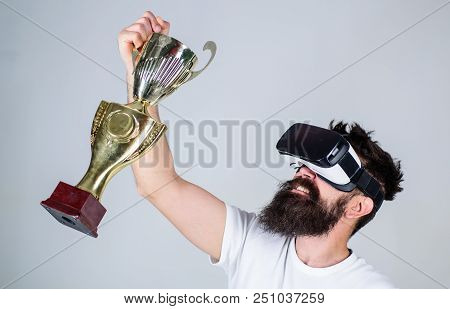 Celebrate Victory. Feel Victory In Virtual Reality Games. Achieve Victory. Hipster Virtual Gamer Got