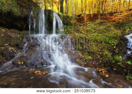 Dokuzak Waterfall In Strandja Mountain, Bulgaria During Autumn. Beautiful View Of A River With An Wa