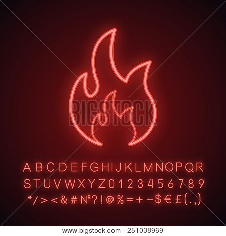 Fire Neon Light Icon. Bonfire. Glowing Sign With Alphabet, Numbers And Symbols. Vector Isolated Illu