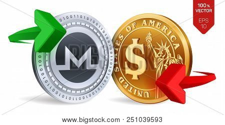 Monero To Dollar Currency Exchange. Monero. Dollar Coin. Cryptocurrency. Golden And Silver Coins Wit
