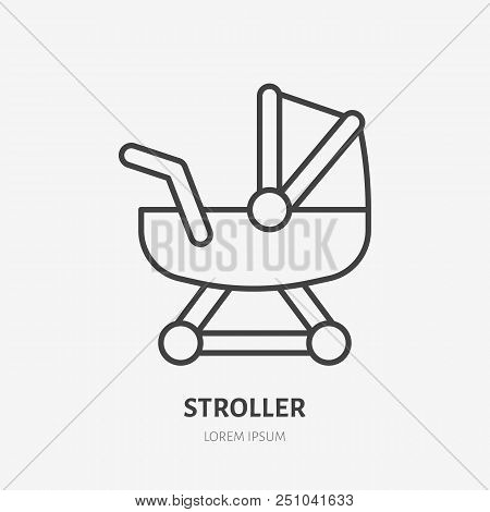 Stroller line icon, girl toy flat logo. Baby carriage, newborn vector illustration. Sign for kids shop. poster