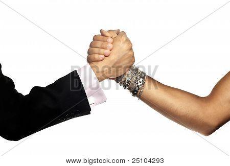 Casual hearty handshake