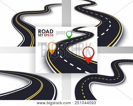 Winding Road Set. Trip And Journey Route. Business And Journey Infographic Design Template With Pin