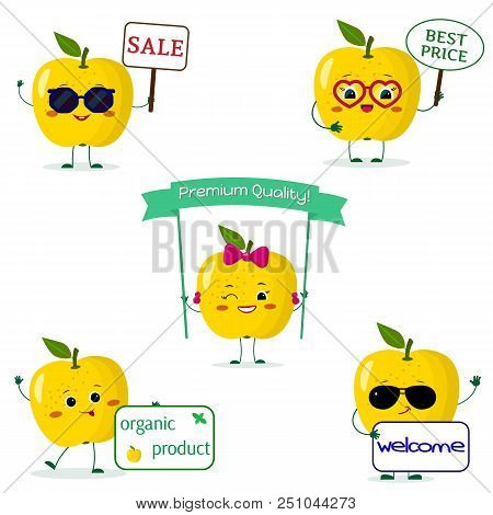 A Set Of Five Yellow Apple Smiley In Cartoon Style. With Different Plates And Glasses. Flat, Vector.