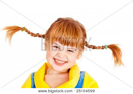 Portrait of a laughing girl with funny braids