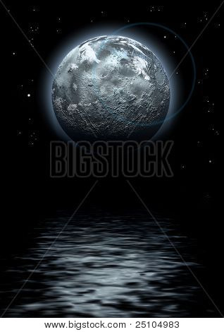 lunar composition with water-reflexion