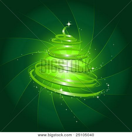 illustration of a stylized christmas tree against swirly background