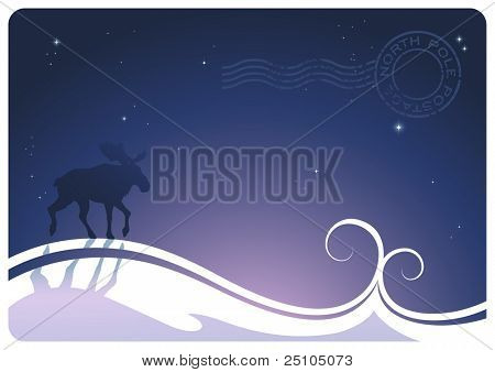 stylized winter-landscape with moose and northpole-postage-stamp :) poster