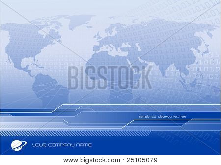 global business or communication background with world-map and binary code - customize with your own logo and text poster