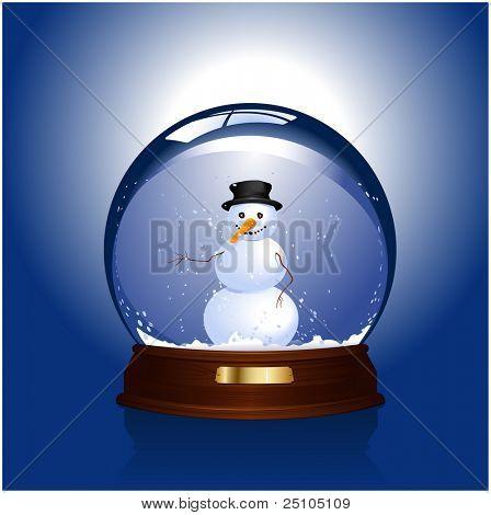 snow-globe with happy snowman inside