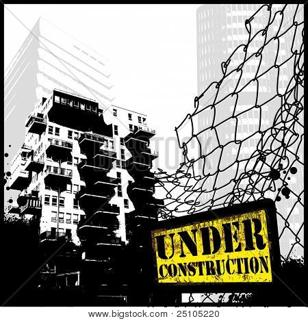 under construction - grungy illustration of a cityscape with fence and warning sign