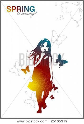 little girl with butterflies and flowers