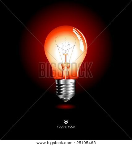 red lightbulb with heart-shaped filament