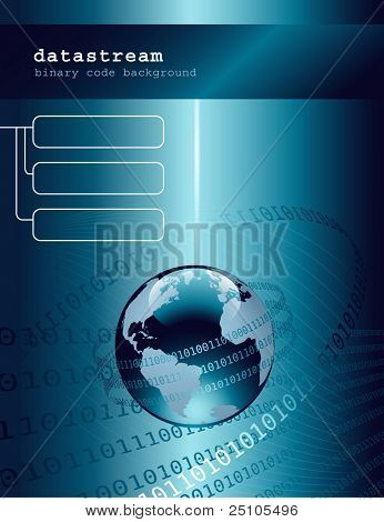 technology background with globe and binary code