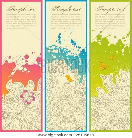 set of three vertical floral banners or bookmarks